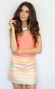 Neon aztec shine print patterened fitted bodycon mini skirt by Dolly Rocka Product photo