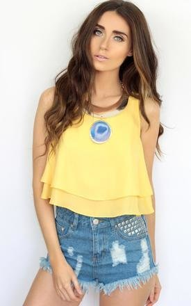 Summer lemon yellow rara ruffle tiered crop top by Dolly Rocka Product photo