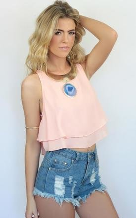 Pale pink rara ruffle tiered crop top by Dolly Rocka Product photo