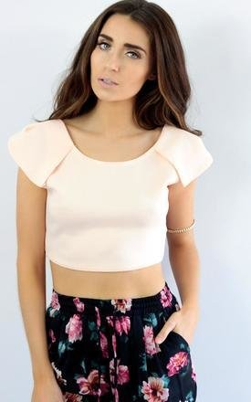 Pale pink plunge low back cap sleeve crop top by Dolly Rocka Product photo