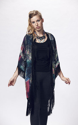 Oriental floral forest kimono with hand made fringe by Liquorish Product photo