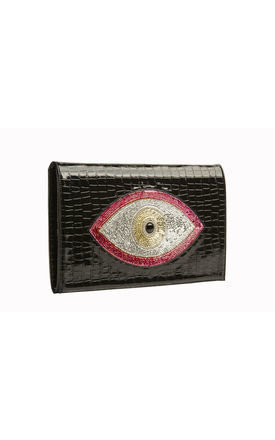 Red evil eye envelope clutch by Sunita Mukhi Product photo