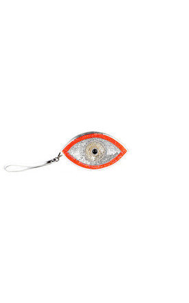 Orange evil eye clutch by Sunita Mukhi Product photo