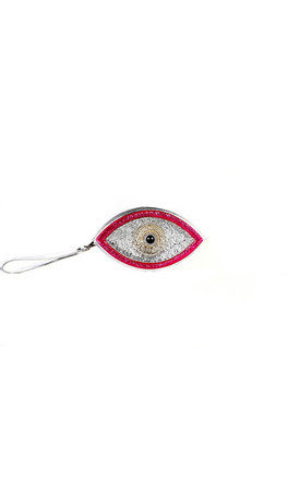 Pink evil eye clutch by Sunita Mukhi Product photo