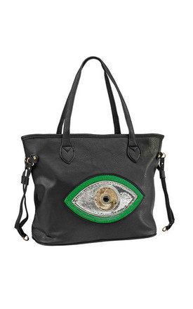Green evil eye tote by Sunita Mukhi Product photo