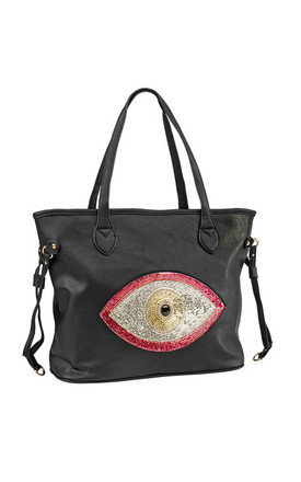Pink evil eye tote by Sunita Mukhi Product photo