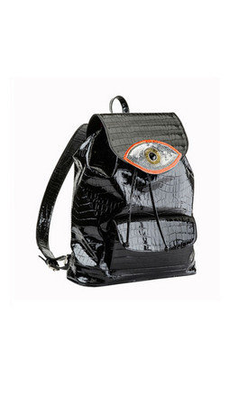Orange evil eye backpack by Sunita Mukhi Product photo