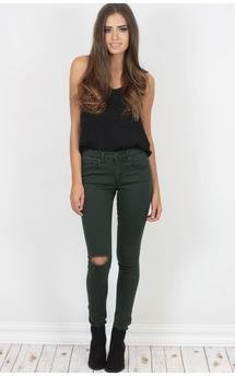 Kiki khaki high waisted ripped jeans by Dolly Rocka Product photo