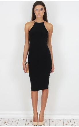 Jet black crossback slinky midi dress by Dolly Rocka Product photo