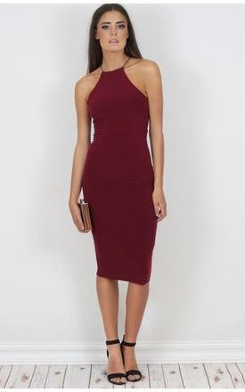 Natalia wine crossback midi dress by Dolly Rocka Product photo