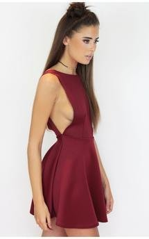 Maroon wine backless skater dress by Dolly Rocka Product photo