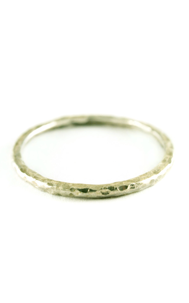 Silver Hammered Band Stacking Ring by Frillybylily