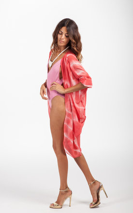 Classic cape in coral spiral tie-dye by Dancing Leopard Product photo