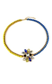 Blue & yellow gem necklace by Emi Jewellery Product photo