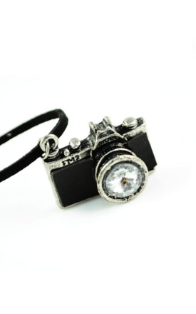 Black nikon camera necklace by Emi Jewellery Product photo