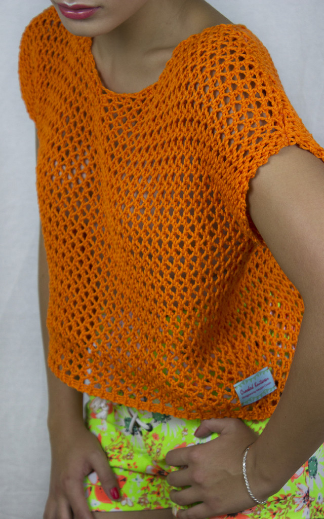 Handmade Orange Mesh Tee by Get Crooked