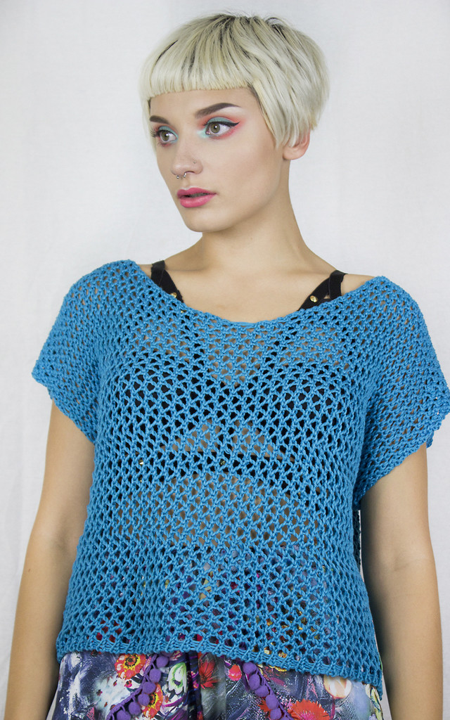 Handmade Blue Mesh Tee by Get Crooked