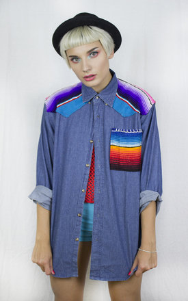 Handmade Mexican Blanket Denim Shirt by Get Crooked