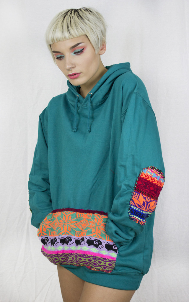 Handmade Teal Fairisle Hoodie by Get Crooked