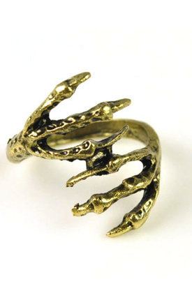 Gold clasp skull ring by Emi Jewellery Product photo
