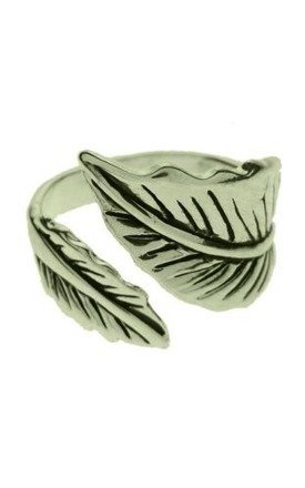Silver plated wrap leaf ring by Emi Jewellery Product photo