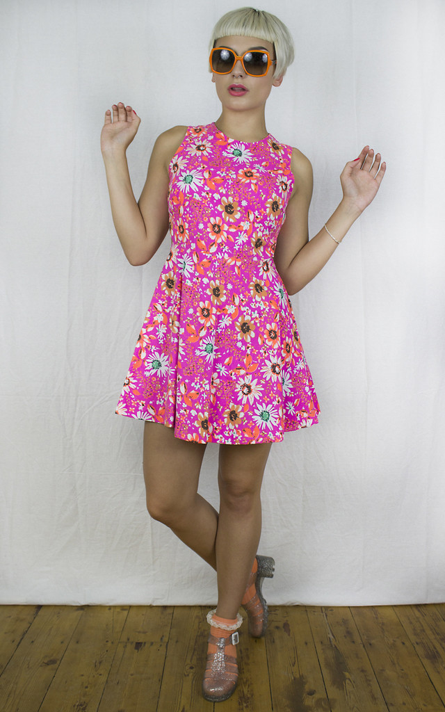 Handmade Neon Pink Cut Away Skater Dress by Get Crooked