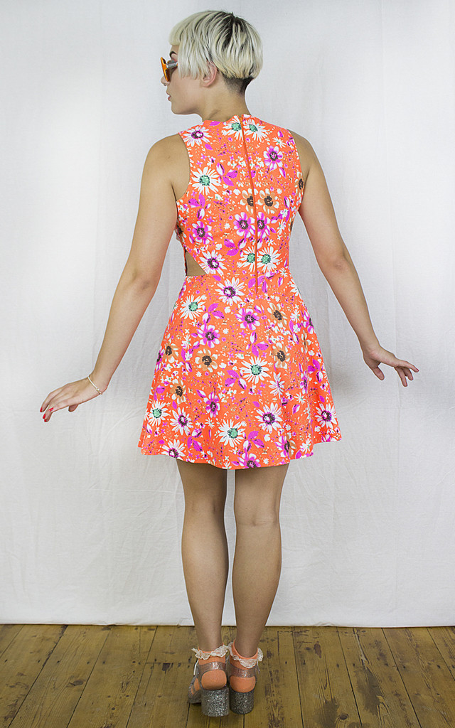 Handmade Neon Orange Cut Away Skater Dress by Get Crooked