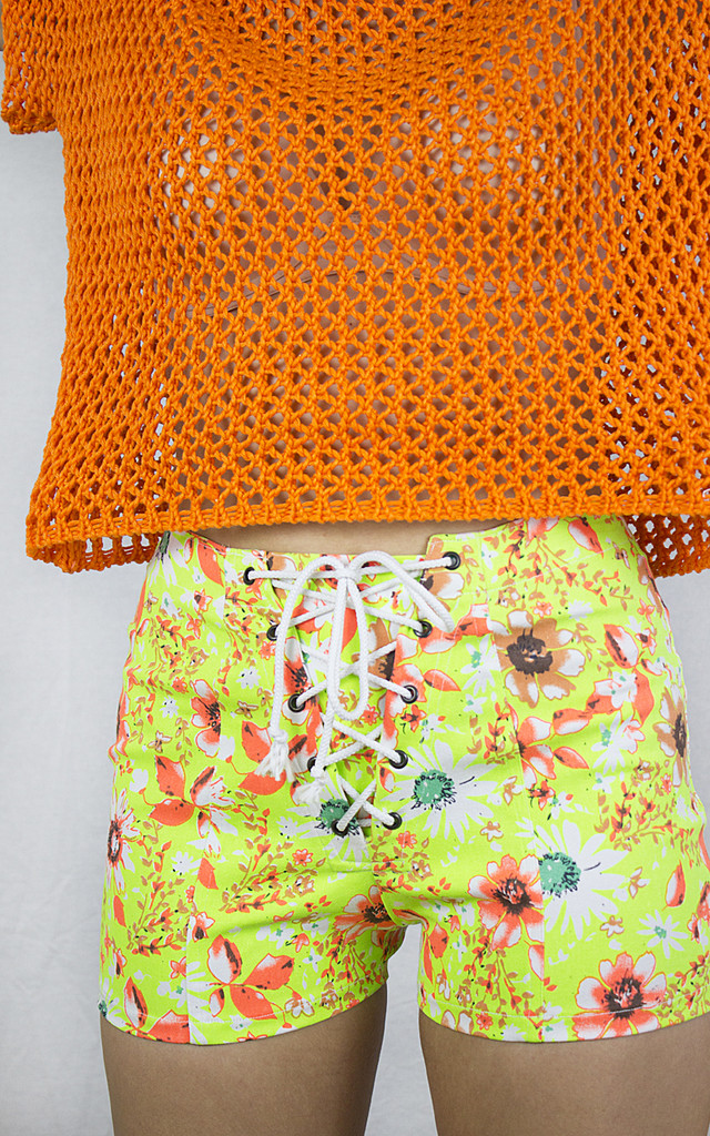Handmade Neon Yellow Corset Shorts by Get Crooked