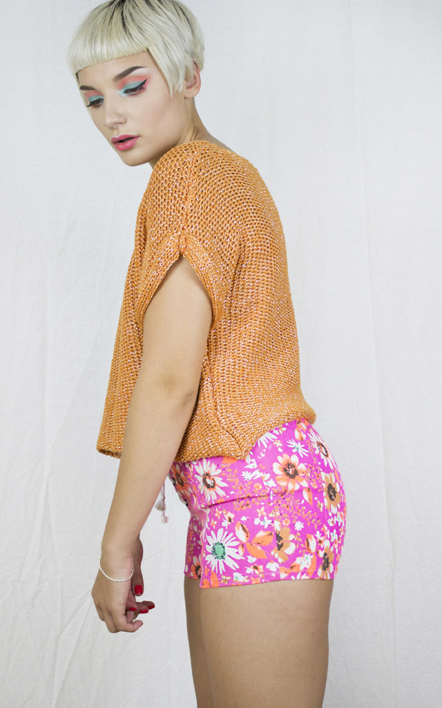 Handmade Neon Pink Corset Shorts by Get Crooked