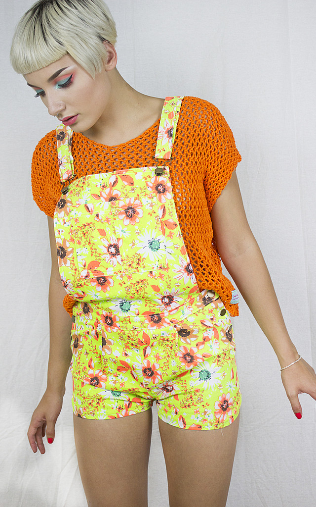 Handmade Neon Yellow Dungarees by Get Crooked