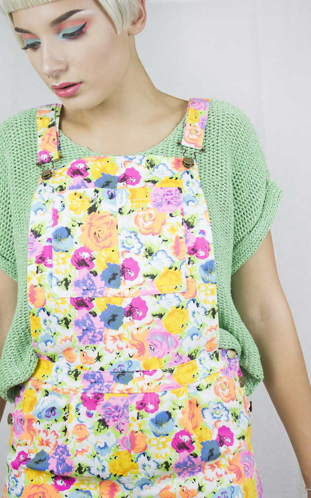 Handmade Neon White Dungarees by Get Crooked