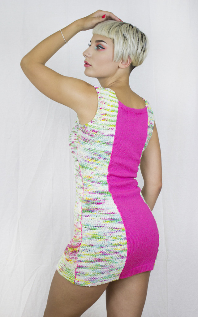 Handmade Pink Knit Panel Dress by Get Crooked