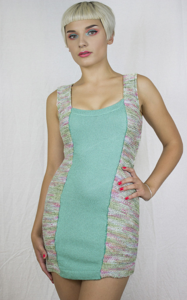 Handmade Mint Knit Panel Dress by Get Crooked