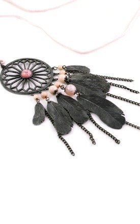 Pink dreamcatcher necklace by Emi Jewellery Product photo