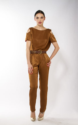 Liquorish camel jumpsuit by Liquorish Product photo
