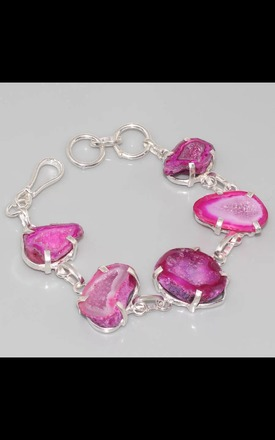 REAL SILVER Magenta Agate Geode Druzy Bracelet by Nature's trinket