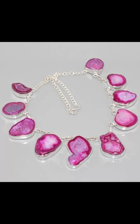 REAL SILVER Magenta Necklace by Nature's trinket