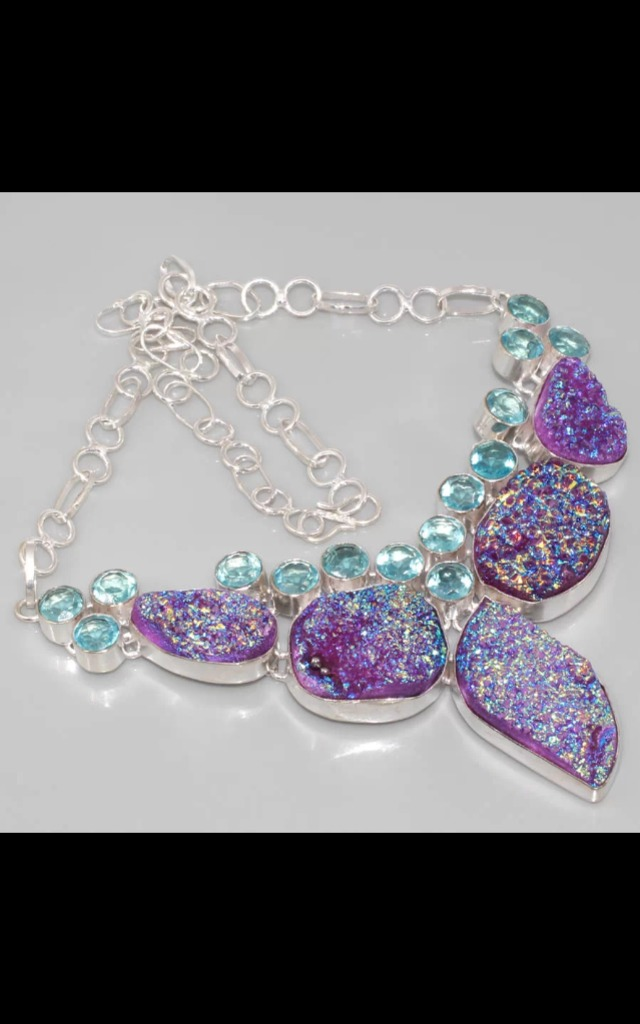 REAL SILVER Dress Titanium Druzy Necklace by Nature's trinket