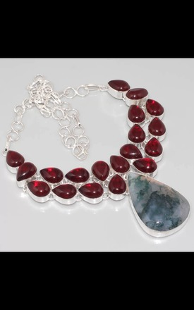 REAL SILVER Dress Garnet necklace by Nature's trinket