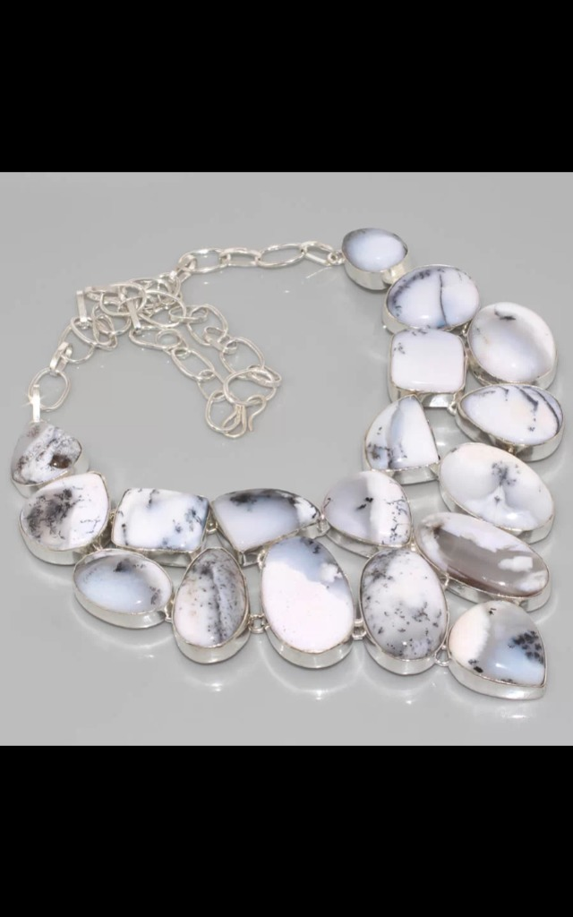 REAL SILVER & Dendritic Opal Dress Necklace by Nature's trinket