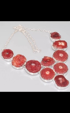 REAL SILVER Agate Geode Multi Slice Dress Necklace by Nature's trinket