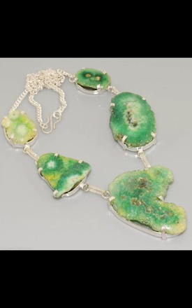 REAL SILVER Chunky Agate Geode Green Dress Necklace by Nature's trinket