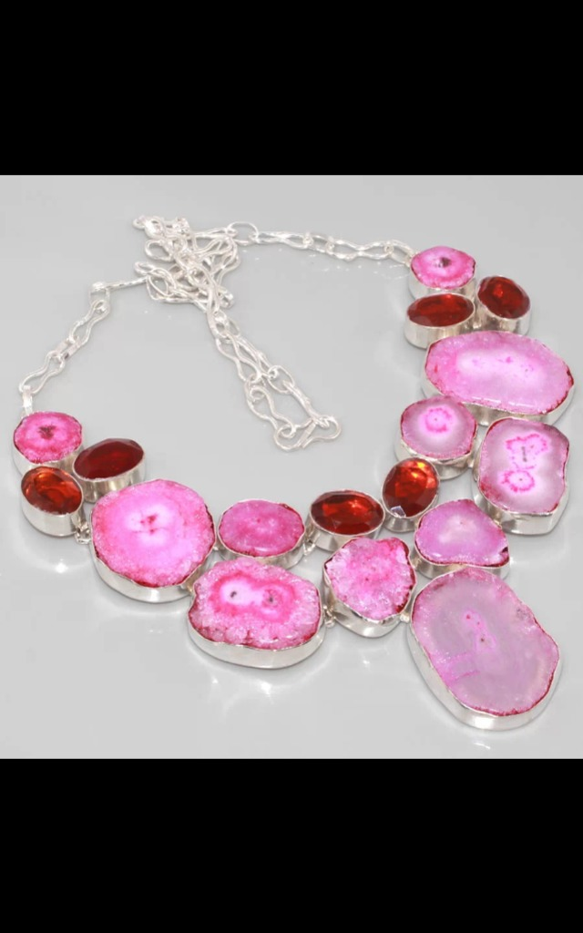 REAL SILVER Garnet & Geode Cluster Dress Necklace by Nature's trinket