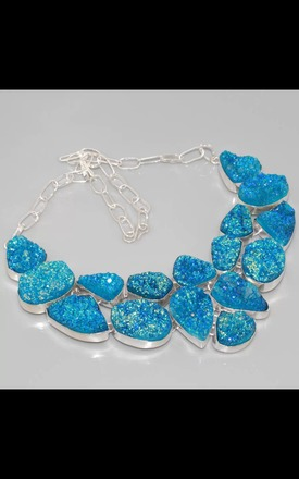REAL SILVER & Titanium Druzy Dress Necklace by Nature's trinket