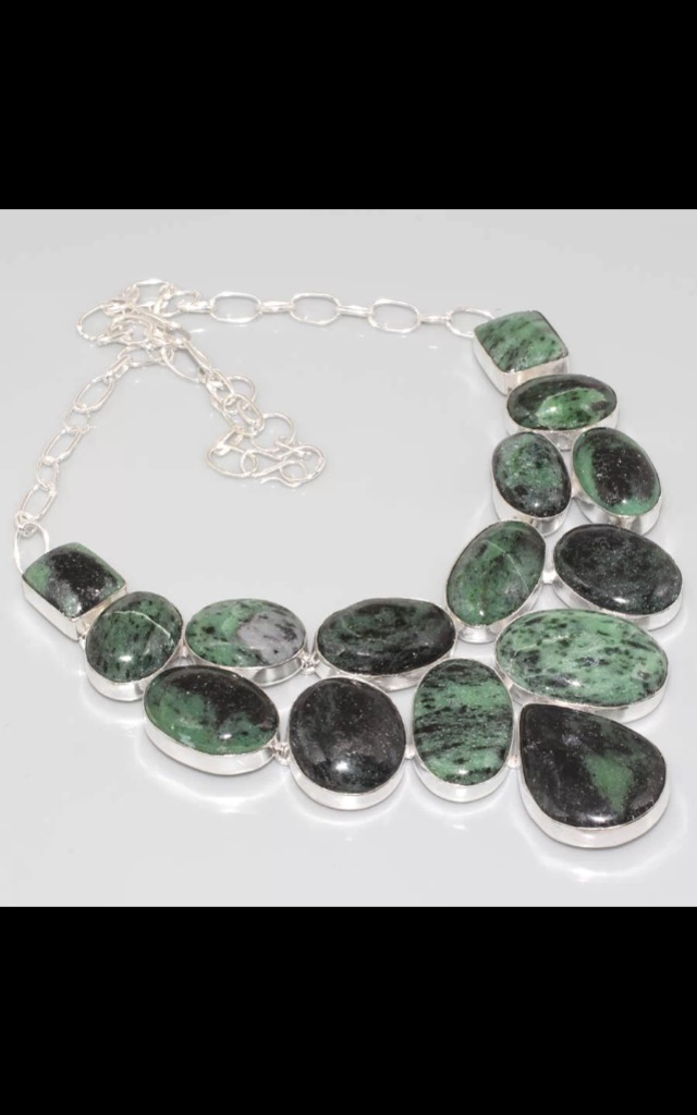 REAL SILVER cluster Zoisite stone dress necklace by Nature's trinket