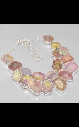 REAL SILVER Tonal Agate Geode Dress Necklace by Nature's trinket