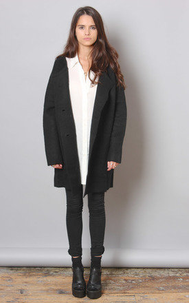 Black wool cocoon cardi by Never Fully Dressed Product photo