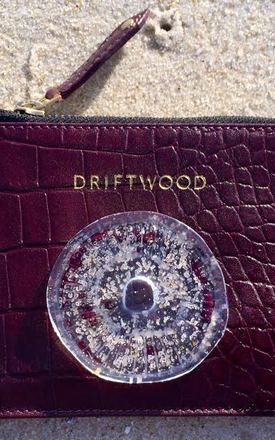 Coin purse in wine crocodile print leather  by Driftwood Bags Product photo