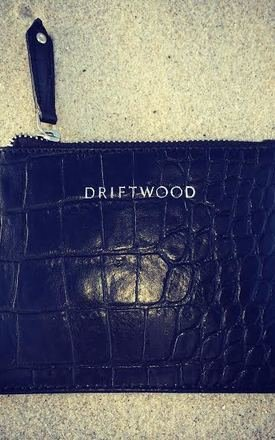 Coin purse in black crocodile print leather by Driftwood Bags Product photo