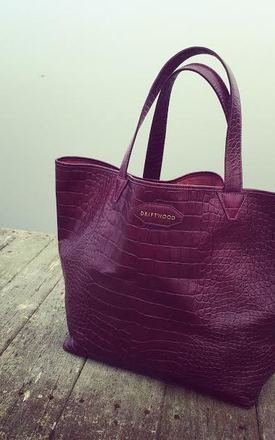 Croc print leather tote in wine by Driftwood Bags Product photo